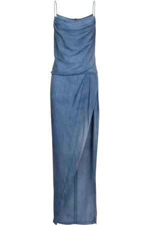 Balmain Denim Effect Silk Dress W/ Deep Slit
