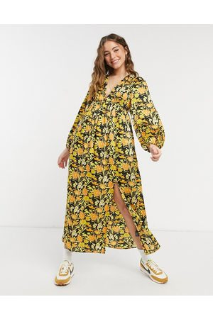 ASOS – Blommig midiklänning med djup urringning-Olika färger