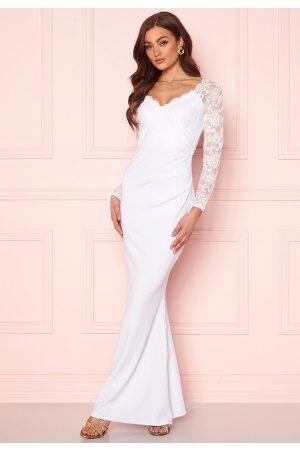 Goddiva Long Sleeve Lace Dress White S (UK10)
