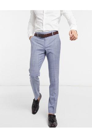ASOS Man Dressade byxor - – Bröllop – Marinblå kostymbyxor i crosshatchmönster och smal passform