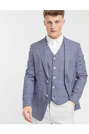 ASOS Wedding – Marinblå kavaj med crosshatch-mönster och extra smal passform, del av kostym