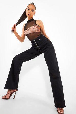 Boohoo High Waisted Split Hem Jean, Black