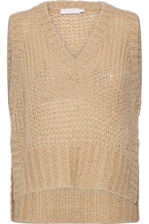 Coster Copenhagen Vest With V-Neck And Slits Vests Knitted Vests Creme