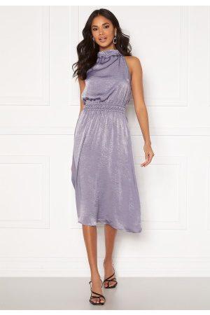BUBBLEROOM Kvinna Midiklänningar - Emalie high neck dress Grey-blue 34