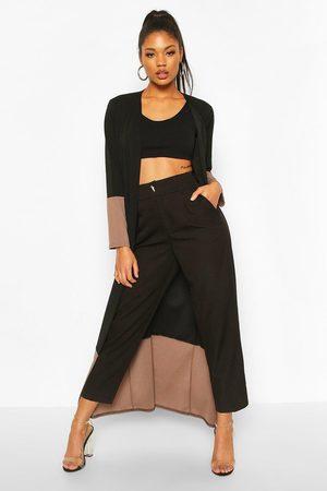 Boohoo Kimono Med Blockfärger, Black