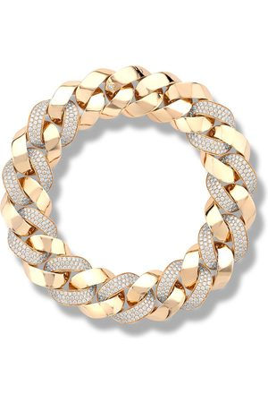 Pragnell 18kt rose gold diamond Cuba small chain bracelet