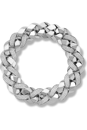 Pragnell 18kt white gold diamond Cuba medium chain bracelet
