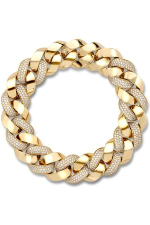Pragnell 18kt yellow gold diamond Cuba small chain bracelet