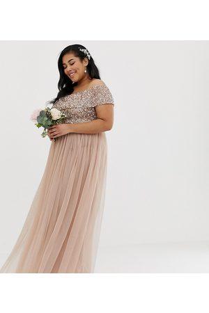 Maya Kvinna Festklänningar - – Brudtärna – Brunrosa, maxilång off shoulder-klänning i tyll med delikata ton i ton-paljetter
