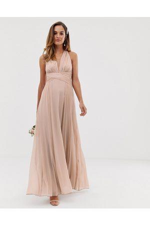 ASOS – Maxiklänning med rynkat liv, omlott och drapering för brudtärna
