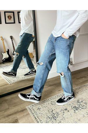 ASOS – Ljusa ankellånga jeans i vintagetvätt med raka ben och knärevor
