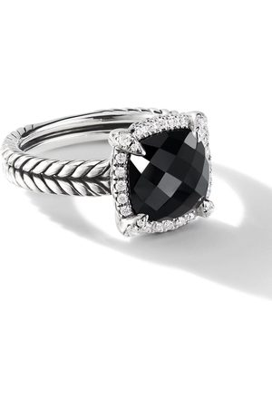 David Yurman Sterling 9mm Châtelaine pavé diamond and onyx ring