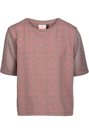 PETIT by Sofie Schnoor Flicka Tränings t-shirts - Sport by Sofie Schnoor T-shirt - Ljusbrun m. Text