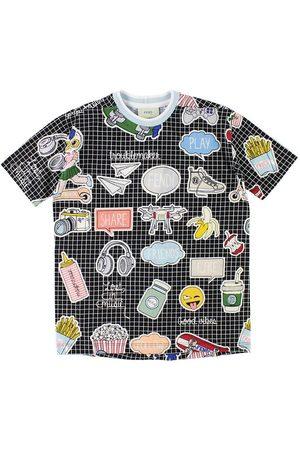 Fendi Kids T-shirt - Svartrutig m. Tryck