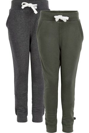 Minymo Joggingbyxor - Sweatpants - 2-pack - Koksgrå/Army
