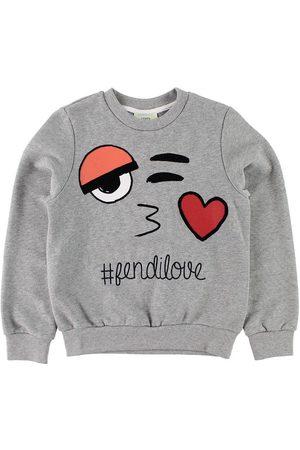 Fendi Flicka Sweatshirts - Kids Sweatshirt - Gråmelerad m. Ansikte