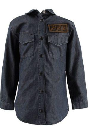 Fendi Pojke Jeansskjortor - Kids Skjorta - Denim - Mörkblå m. Patch