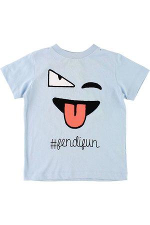 Fendi Pojke T-shirts - Kids T-shirt - Ljusblå m. Ansikte