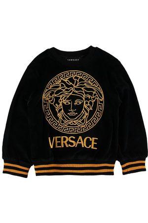 VERSACE Flicka Sweatshirts - Versace Tröja - Velour - Svart/Guld m. Logo