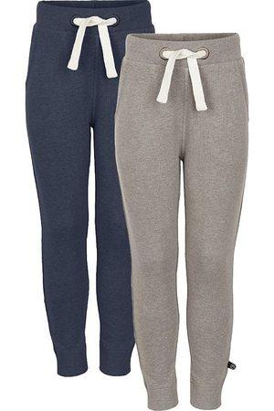 Minymo Pojke Joggingbyxor - Sweatpants - 2-pack - Ljusbrun/Blåmelerad