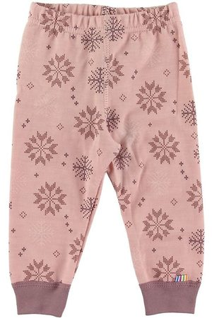 Joha Flicka Leggings - Leggings - Ull/Bomull - Rosa m. Snöflingor