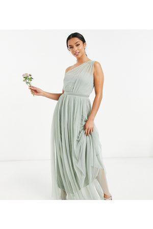 ANAYA Anaya With Love Petite – Brudtärnor – Salviagrön maxiklänning i tyll med en bar axel