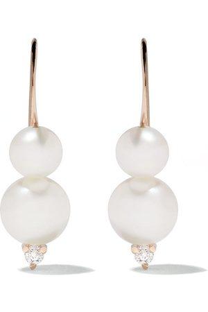Mizuki örhängen i 14K guld med pärlor och diamant