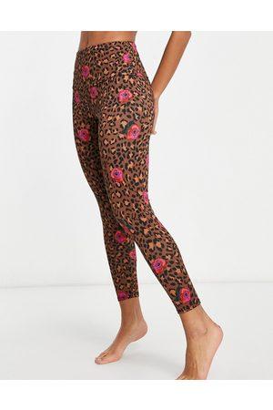Onzie – Blommiga och leopardmönstrade 7/8-långa yogaleggings med hög midja-Flera färger