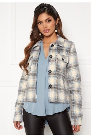 Only Lou Short Check Jacket Pumice Stone XS