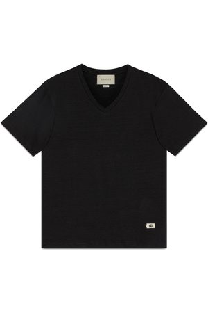 Gucci Linen V-neck T-shirt with Double G