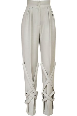MATÉRIEL by Aleksandre Akhalkatsishvili High Waist Wool Blend Pants W/ Straps