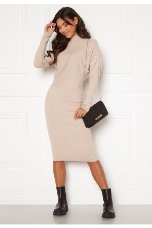 Vila Elasta 3/4 Sleeve Knit Dress Natural Melange L