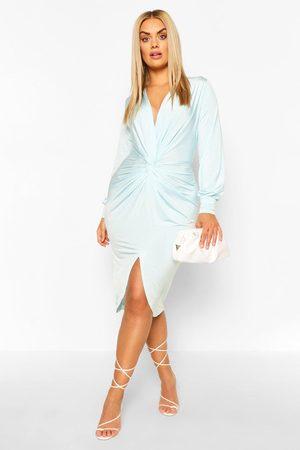 Boohoo Kvinna Midiklänningar - Plus - Midiklänning Med Låg Urringning Och Tvinnad Design, Blue