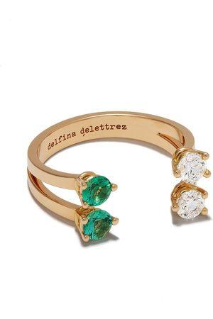 DELFINA DELETTREZ Domino Dots ring i 18k gult guld