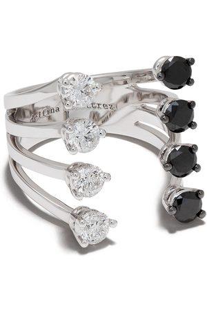 DELFINA DELETTREZ Domino Dots ring i 18 K vitguld med diamanter