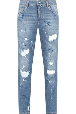 Dolce & Gabbana Graphic distressed straight-leg jeans