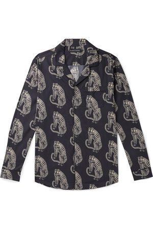 Desmond & Dempsey Sansindo Camp-Collar Printed Organic Cotton-Poplin Pyjama Shirt