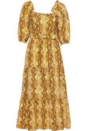 FAITHFULL THE BRAND Rumi Midi Dress Knälång Klänning Gul