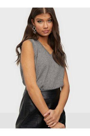 Object Kvinna Stickade tröjor - Objthess S/L Knit Waistcoat Noos Stickade tröjor Medium Grey Melange