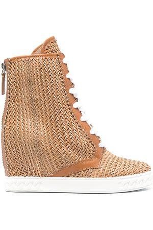Casadei Kvinna Boots - Ina 80 mm vävda stövlar med kilklack