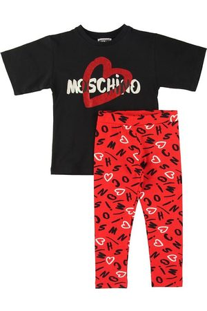Moschino Flicka Leggings - Set - T-shirt/Leggings - Svart/Röd m. Tryck