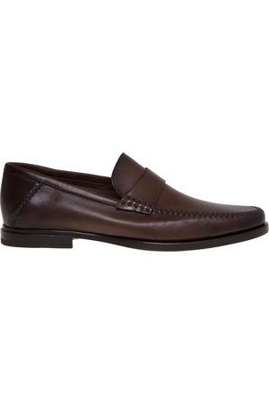 santoni Leather moccasin with threads