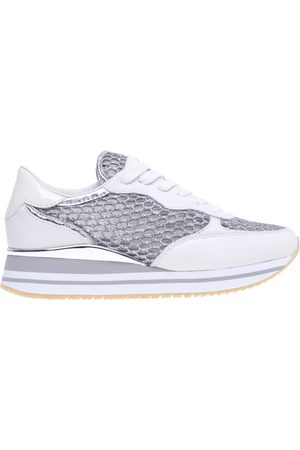 Crime london Sneaker in glittery laced fabric and leather