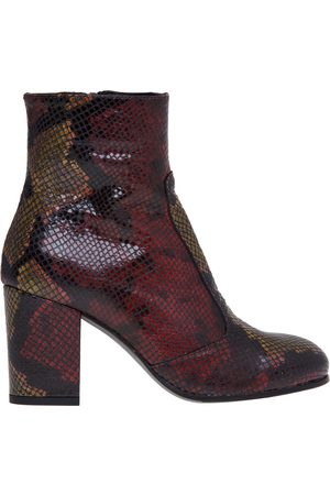 Lemaré Python print leather ankle boot and heel