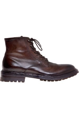 Officine creative Amphibian in dark brown brushed leather