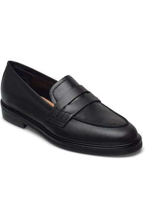 Flattered Kvinna Loafers - Sara Black Leather Loafers Låga Skor