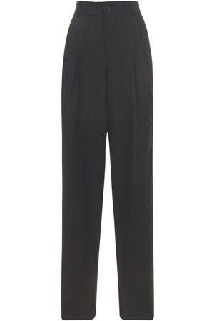 Saint Laurent Wool Grain De Poudre Wide Leg Pants