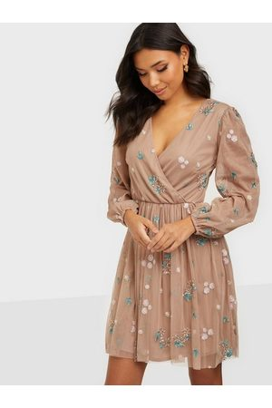 Maya All Over Embroidered Long Sleeve Wrap Mini Skater Dresses