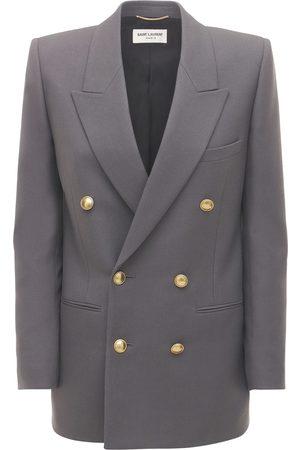Saint Laurent Double Breasted Wool Gabardine Blazer