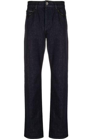 Salvatore Ferragamo Man Straight - Straight-jeans med läderkant